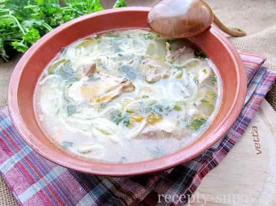 рецепт грибной лапши с курицей